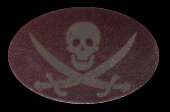 burgandy skull and crossbones leather buckle