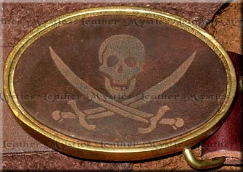 pirate jack jolly roger skull crossbones leather belt brass buckle