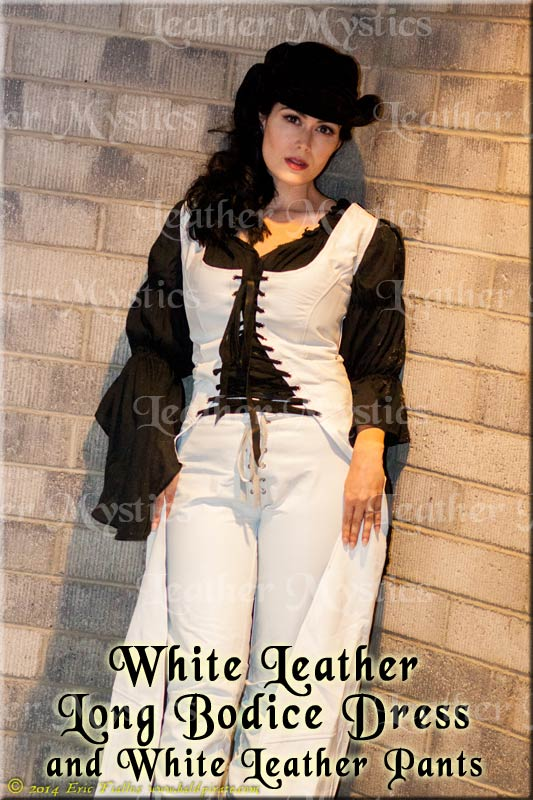 fetish white leather bodice dress