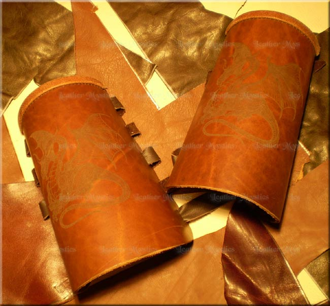 leather wrist guards engraved dragon bracers