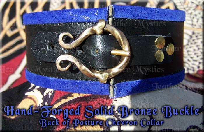custom leather slave collar for girl or boy with hand-forged solid bronze made in usa - bdsm pet bondage