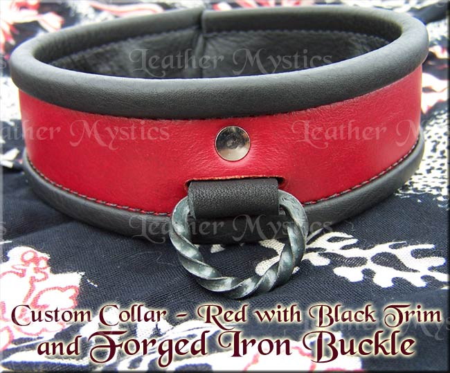 custom leather slave collar for girls with forged hardware buckle and d-ring bdsm submissive girl boy