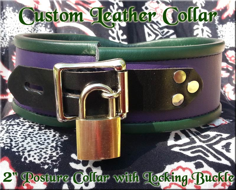 custom leather locking collar pet slave submissive sub
