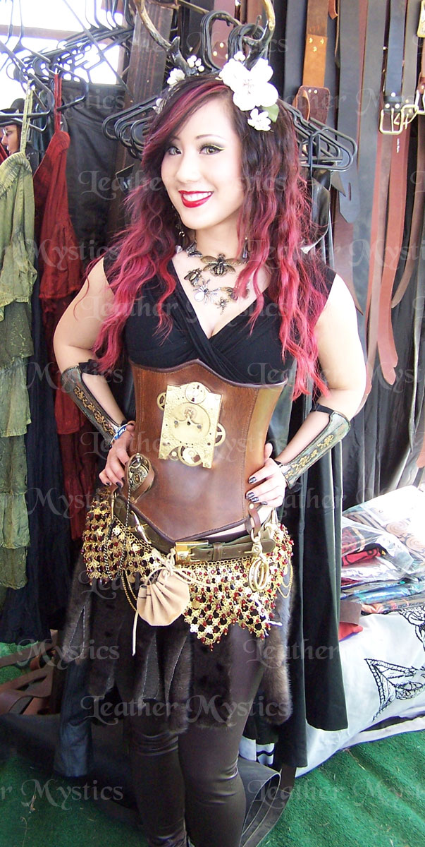steampunk anime cosplay leather corset underbust