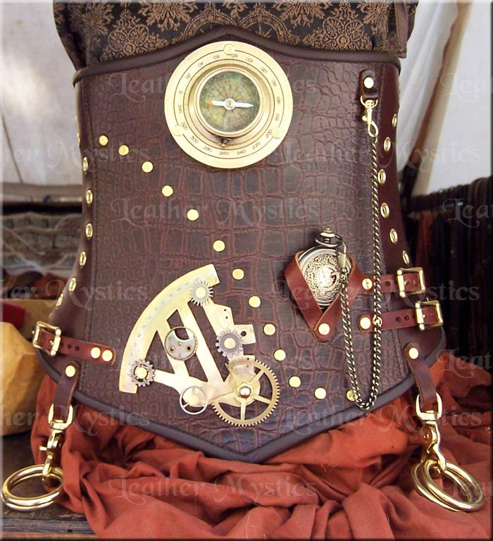 $350 Steampunk corset custom leather by Leather Mystics
