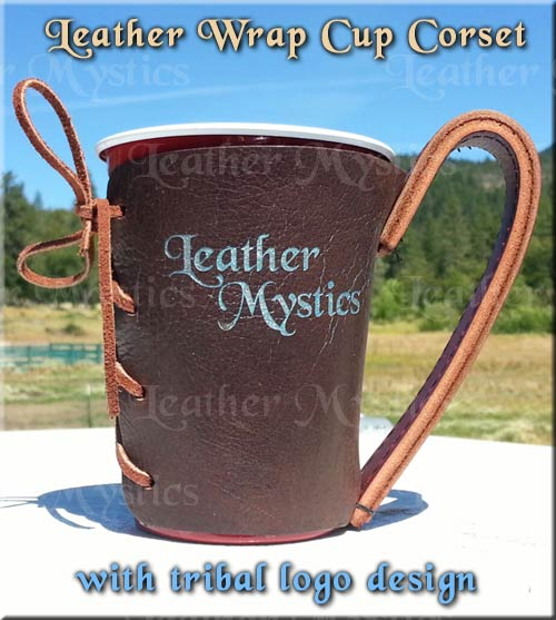 picnic solo cup party cup leather wrap with handle - leathermystics.com