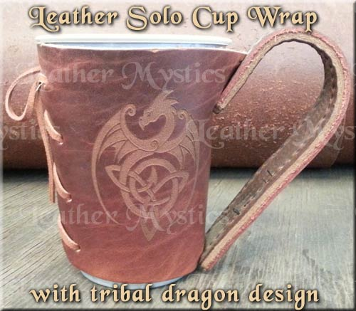 custom cup wrap with handle leather - leathermystics.com