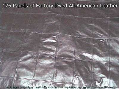 closeup of leather duvet leather squares
