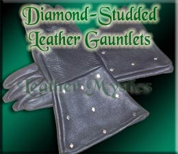 diamond studded leather gauntlet gloves for renaissance and sca