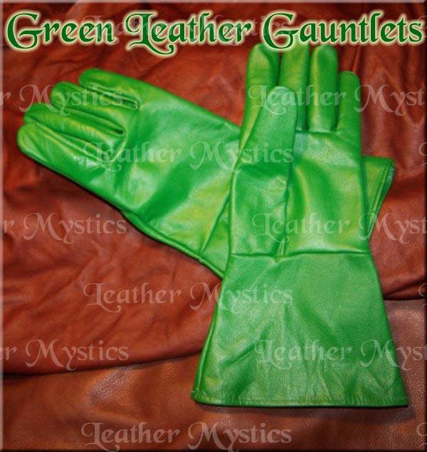 green leather hero super hero gloves costume gauntlets