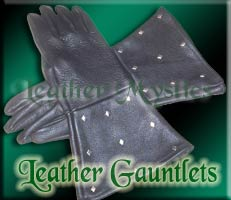 regular black leather gauntlet gloves for renaissance and sca garb costuming
