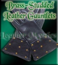 renaissance leather gauntlets with round studs