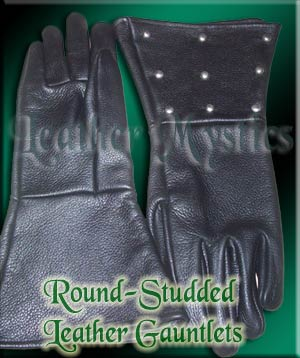 leather costume gauntlets with studs