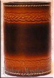 celtic braided design in a leather drinking cup