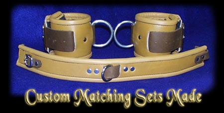 custom matching leather shackle and collar harness sets