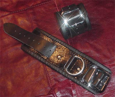 leather shackle cuffs snake skin inlayed