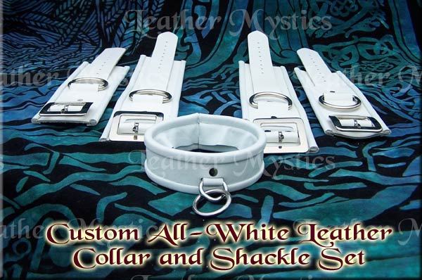 custom leather white shackle and matching collar set