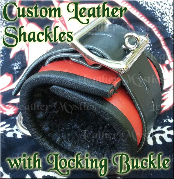 custom locking leather shackles slave submissive sub dominatrix dom top bottom boy girl