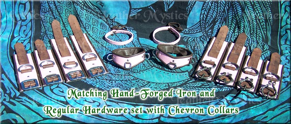 leather shackles brown and pink matching custom set